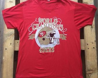 1988 Vintage San Francisco 49ers t-shirt, football, red, vtg, retro, league, team, bay area, nfl, nfc, niners, california, world champions