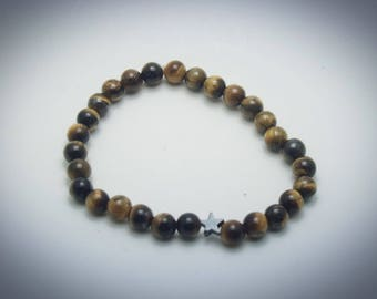 Tiger's Eye and Hematite Beaded Stretch Bracelet - Protection - Clarity - Metaphysical - Crystal Healing - Nervous System