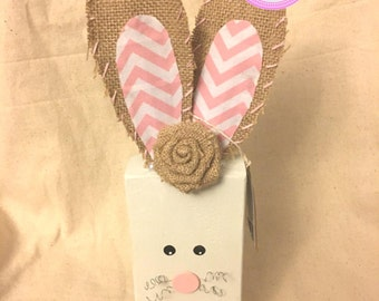 Wood Easter Bunny, Burlap Ear Bunny, Wood Block Bunny, Wood Rabbit, bunny, easter bunny