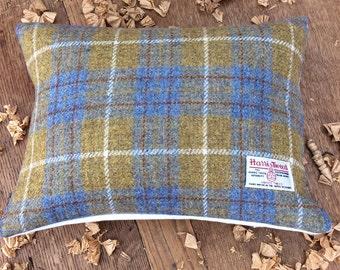 Handmade Mustard & Blue Harris Tweed Cushion 30x40 cm