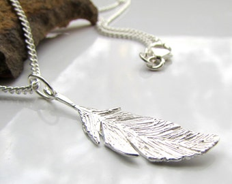 Handmade Silver Feather Necklace - Fine Silver Feather - 999 Silver - Australian Made - Delicate Silver Necklace - Gift for her - Handmade