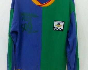 Rare!! Vintage Indianapolis 500 multi colour sweatshirts hip hop swag Large size