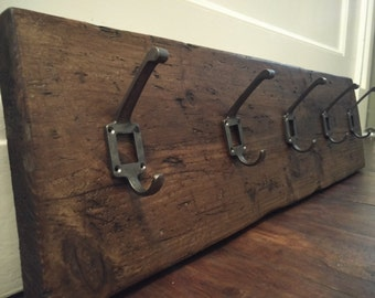 Reclaimed Industrial Wooden Coat & Hat Rack