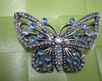 """1 piece in 2"""" x 1 1/2"""" width  silver gray tone color acrylic bead butterfly pattern brooch for your sewing decorative. (b4)"""