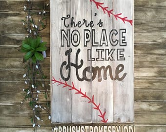 There's no place like home, baseball sign, rustic wood sign, rustic baseball decor, handpainted sign, wooden signs, wood sign, baseball