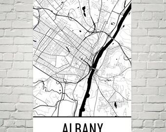 Albany Map, Albany Art, Albany Print, Albany NY Poster, Albany Wall Art, Albany Gift, Map of Albany, Albany Decor, Modern, Albany Art Print