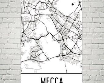 Mecca Map, Mecca Art, Mecca Print, Mecca Saudi Arabia Poster, Mecca Wall Art, Mecca Gift, Mecca Decor, Mecca Map Art, Mecca Map Print, Print