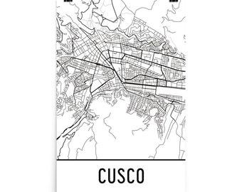 Cusco Map Art Print, Cusco Peru Art Poster, Cusco Wall Art, Map of Cusco, Cusco Print, Cusco Art, Cusco Poster, Cusco Gift