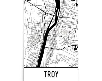 Troy Map, Troy Art, Troy Print, Troy NY Poster, Troy New York Wall Art, Map of Troy, Troy Gift, Troy Decor, Troy NY, Troy Map Art Print