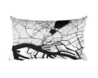 Hamburg Pillow, Hamburg Decor, Hamburg Cushion, Hamburg Throw Pillow, Hamburg Gift, Hamburg Throw, Hamburg Germany Map, Hamburg Art, Map