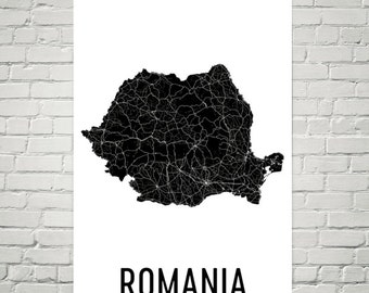 Romania Map, Romanian Art, Map of Romania, Romania Decor, Romania Gift, Romania Print, Romania Poster, Romania Wall Art, Romania Map Print
