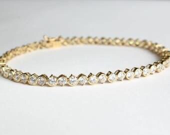 CZ Cubic Zirconia Tennis Bracelet 14k Gold