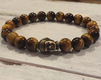 Men's Tiger Eye Bracelet, Buddha Healing Bracelet, Yoga Bracelet, Determination, Will Power, Strength, Focus, Masculine Bracelet, For Him