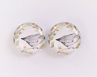 The 'Grey Bird' Glass Earring Studs