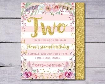 Birthday Invitation, Floral Birthday Invitation, First Birthday Invitation, Birthday Invite, Floral Birthday Invite, First Birthday Invite