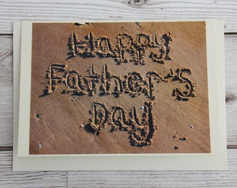 Sand father's day card, beach father's day card, dad card beach photography, father beach card design, sand writing dad card, father's day