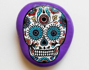 Hand Painted Stone Skull