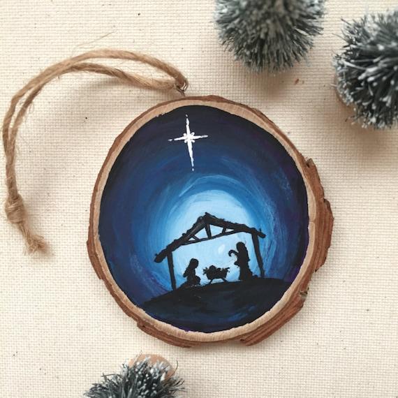 hand painted jesus ornament nativity silhouette wood slice. Black Bedroom Furniture Sets. Home Design Ideas