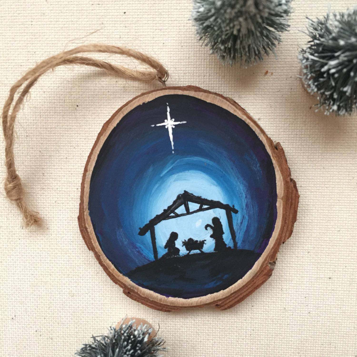 Jesus Ornaments Jesus Ornament Designs: Hand Painted Jesus Ornament Nativity Silhouette Wood Slice