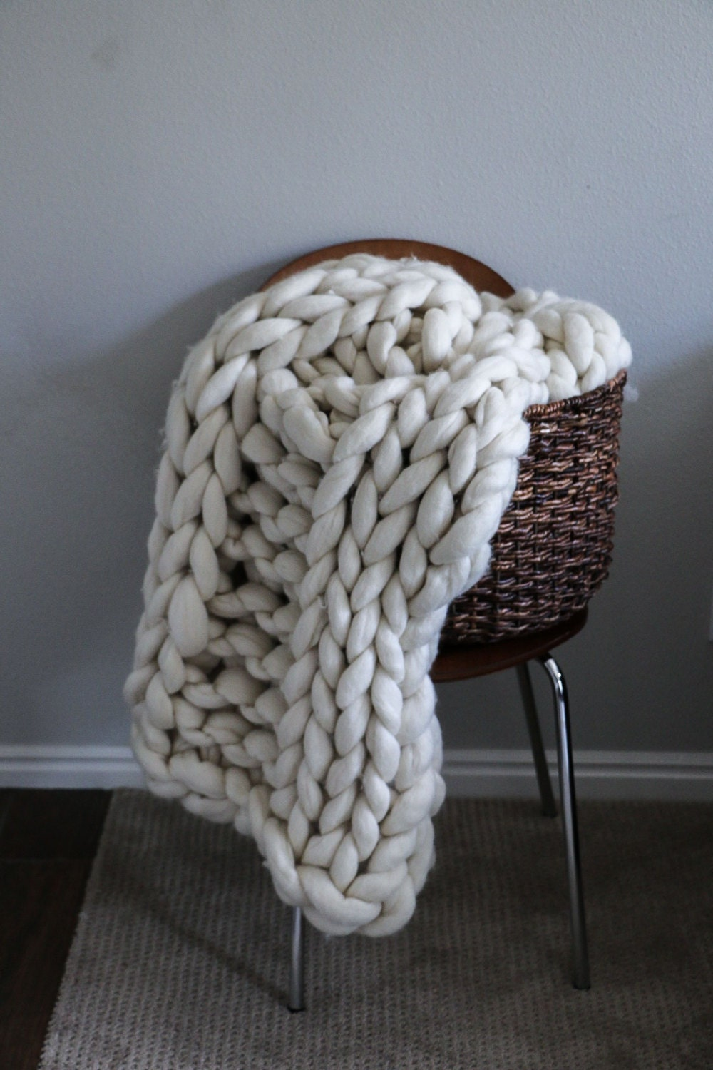 Merino Wool Thick Knit Blanket By Sarahlouco Etsy