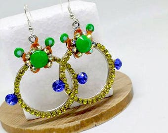 Earrings, Summer earrings, Statement earrings, Party earrings, Neon color earrings, Holiday, Crystal jewelry, Limited edition!