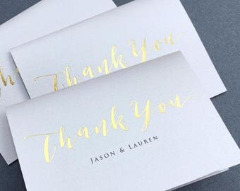 Gold Foil Thank You Note Card Set /  Calligraphy Real Gold Foil Thank You Cards / Modern Stationery / Folded Shimmer Note Cards - T389