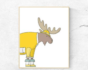 Cute Moose Digital Print, Nursery, Instant download, 8x10, JPG