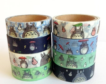 Totoro Washi Tape 5m, planner supplies, masking tape, scrapbooking, cartoon washi tape, cute stationery, crafting tape, planner accessories