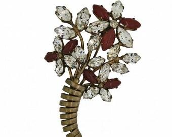 1940s Rhinestone Flower Vintage Brooch
