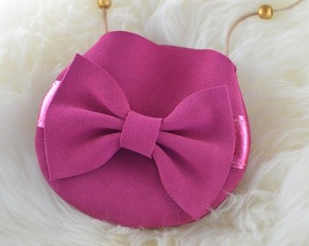Pink suede lether bow purse!