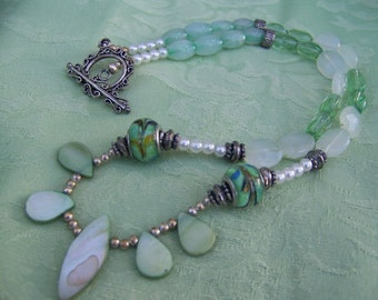 "21"" BEADED NECKLACE with Sage Green, Whites, and Silver tones"