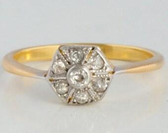 18 carat gold diamond antique ring/18 ct gold antique diamond ring/750 or antique diamants