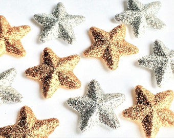 Gold or Silver Glitter Stars Magnets in Decorative Tin | Set of 5 | Super Strong | Fridge Magnets | Star Magnets | Glitter Magnets