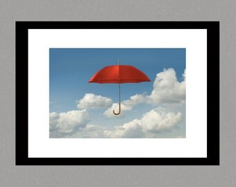 Fine Art print, Red umbrella print, photographic print, photo illustration, surreal art print, wall art, fine art  photography, interior art