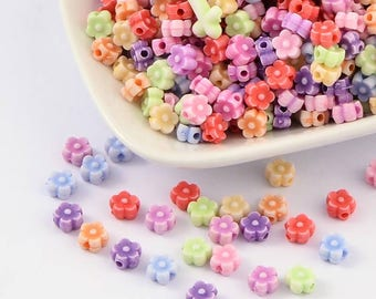 50 pc Mixed Color Flower Acrylic Beads 6x4mm