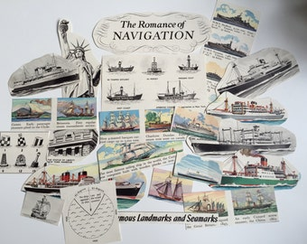 Boats, Ships, Pirates and Sailing Ephemera Paper Pack. Vintage 1950s and 1960s paper for scrapbooking and journaling