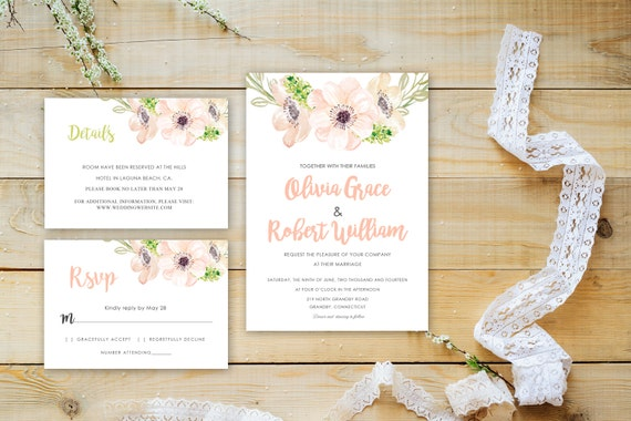 Floral wedding invite word_14,INSTANT DOWNLOAD, Editable Wedding template invitation. Microsoft Word template.Wedding Printable