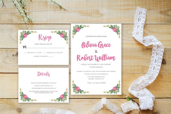 Floral wedding invite word_34,INSTANT DOWNLOAD, Editable Wedding template invitation. Microsoft Word template.Wedding Printable