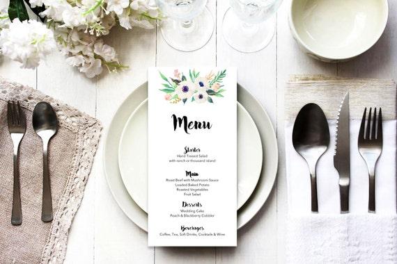 Menu word template_14,table menu, word template, weddings, editable menu card, napkin menu insert,calligraphy