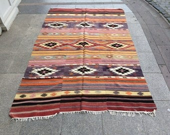 Turkish Kilim Rug,5'x8'feet,155x246cm,Anatolian Turkish Handmade Area Vintage Kilim Rug