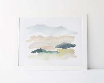 Watercolor Painting, Modern Watercolor Fine Art Giclée Print, Abstract Landscape, Sand and Juniper