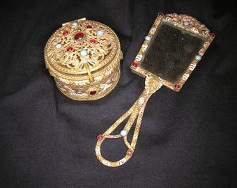 Antique French Jeweled Trinket Box and Hand Mirror