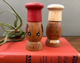 Face Salt and Pepper Shakers - Vintage - Wooden