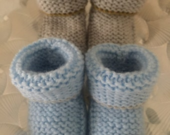 2 Pairs Hand knitted baby reborn doll boys bootees in blue & grey to fit 0-3 mths - Ready to ship! Baby shower gift
