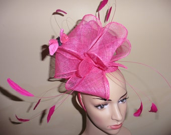Pink Hat,Fascinator,with feathers and butterflies.Wedding fascinator,Ascot Races Hat,occasion hat