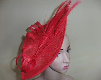 Red Fascinator,Red Wedding Hat,Red Ascot Hat,Red Occasion Hat, Wedding Hat,Occasion Hat ,Ascot Race Hat