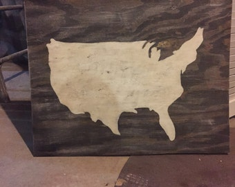 United States map on Rustic Wood