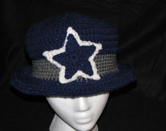 Crochet Hat Navy Blue Grey/Silver and White with star