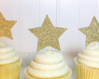 Twinkle Twinkle Gold Star Cupcake Toppers - Twinkle Twinkle Little Star Theme Birthday Decor Set of 12