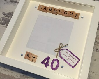 Personalised Scrabble and 3D Papercut Photo Frame- Fabulous at 30/ 40/ 50